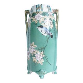 Antique Art Nouveau Hand Painted Porcelain Vase With Bird and Flowers For Sale