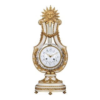 Marble And Ormolu French Lyre Clock For Sale