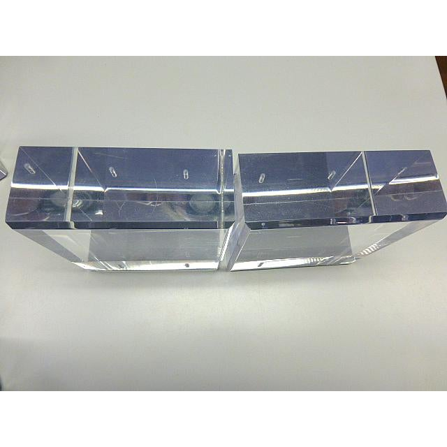 Art Deco Mid Century Modern Lindahl Designs Winnetka Il Lucite Clear Square Bookends - a Pair For Sale - Image 3 of 5