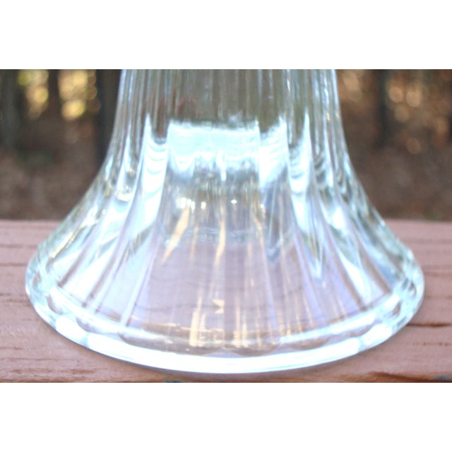 Modern Crystal Ribbed Candle Holders - Pair - Image 6 of 8
