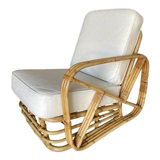 1950s Restored Vintage Three-Strand Square Pretzel Rattan Asymmetric Lounge Chair For Sale