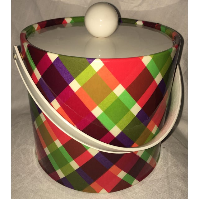 Vintage Plaid Retro Ice Bucket For Sale In Miami - Image 6 of 8