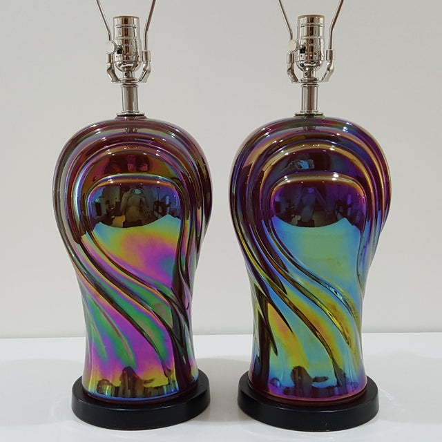 Art Deco Vintage American Art Deco Revival Streamline Modern Iridescent Carnival Glass Lamps - a Pair For Sale - Image 3 of 13