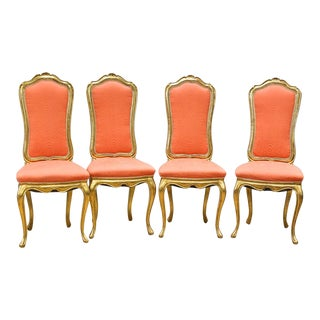 Gina B Baroque Style Gold Designer Dining Chairs - Set of 4 For Sale