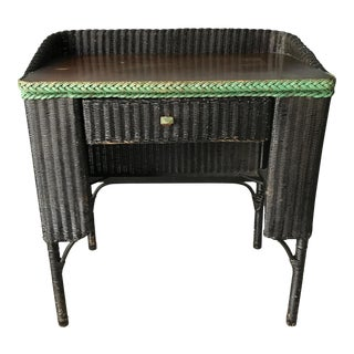 Lloyd Loom Black Wicker Desk For Sale