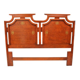 Vintage Red Asian James Mont Style Queen Size Headboard