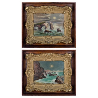 Early 20th Century Antique Feodor Von Luerzer Nocturnal California Coast Paintings - A Pair For Sale