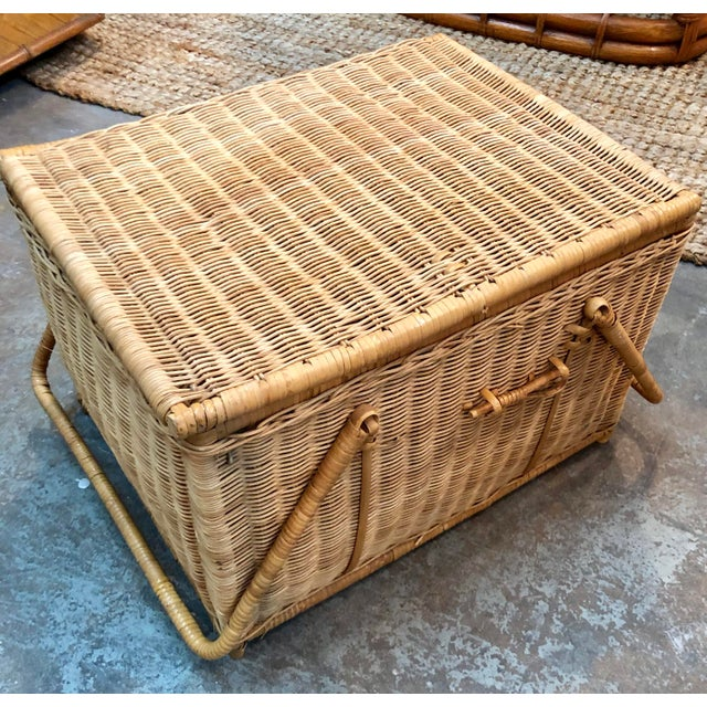 French French Rattan Picnic /Trunk Basket For Sale - Image 3 of 8