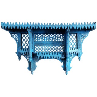 Moroccan Blue Wooden Wall Shelf For Sale