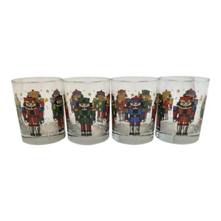 Nutcracker Christmas Double Old Fashioned Mid Century Glasses - Set of 4 For Sale