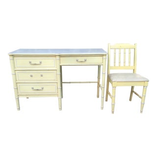1970's Chinoiserie Henry Link Faux Bamboo Writing Desk with Chair - 2 Pieces For Sale