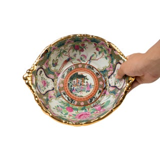 Vintage Oriental Rose Medallion Porcelain Round Handle Tray Preview