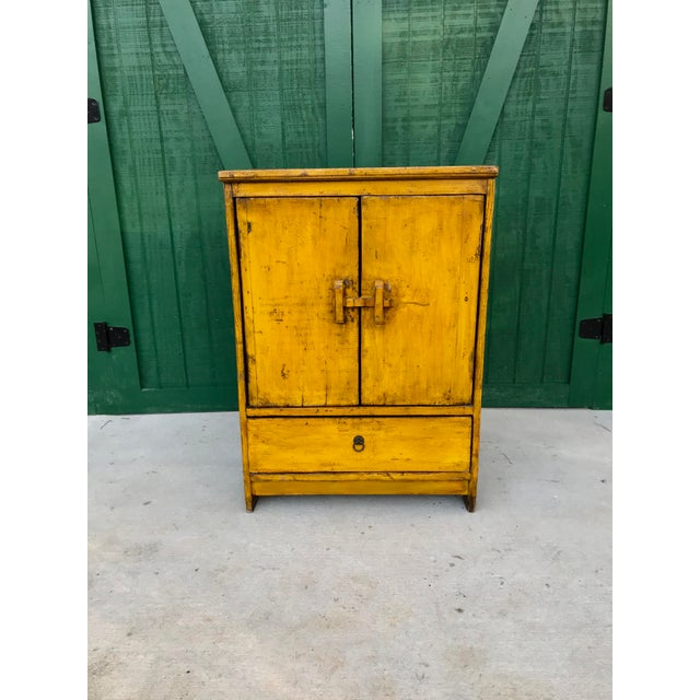 Antique Pine Cupboard with beautiful yellow color. Someone took wonderful  care of this small antique - Antique Primitive Pine Cupboard Chairish