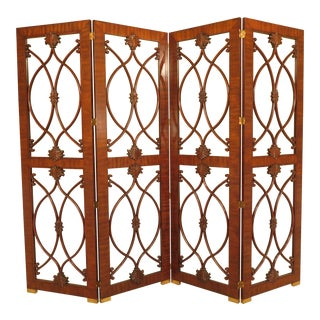 Maitland Smith 4 Panel Mahogany Folding Screen For Sale