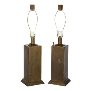 1960s Chapman Mfg. Co. Brass Tower Table Lamps - a Pair For Sale