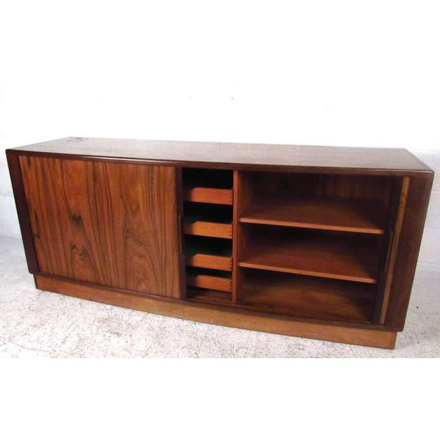 Brown H.P. Hansen Danish Rosewood Tambour Server For Sale - Image 8 of 11