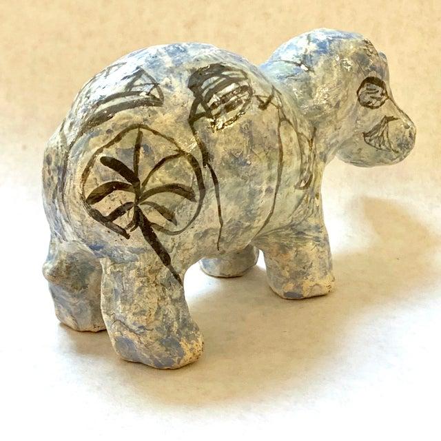 "Ceramic Vintage Mid-Century ""William the Faience Hippopotamus"" Figurine For Sale - Image 7 of 13"