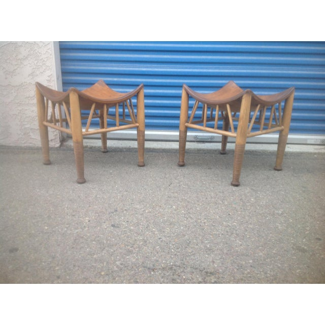 Primitive Modern Mid Century Style Accent Stools- A Pair For Sale - Image 3 of 6