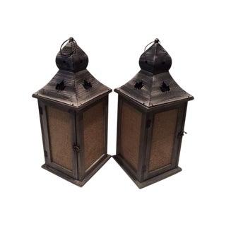 Rustic Maple Leaf Motif Lanterns - Pair For Sale