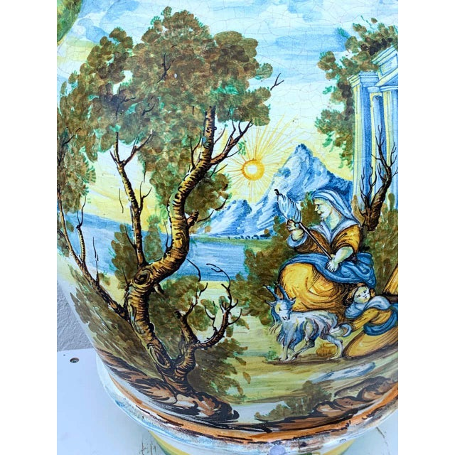 Italian Majolica Scenic Olive Oil Jar/ Jardinière, Provenance Celine Dion For Sale - Image 4 of 12
