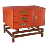 Image of Vintage Red Campaign Style End Table With Drawers & Door & Brass Detail by Hickory For Sale