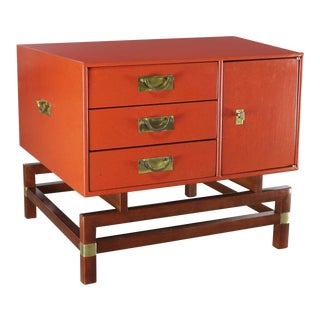 Vintage Red Campaign Style End Table With Drawers & Door & Brass Detail by Hickory For Sale