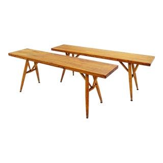 Pair of Two Pirkka Benches by Ilmari Tapiovaara for Laukaan Puu - Finnland 1960s For Sale