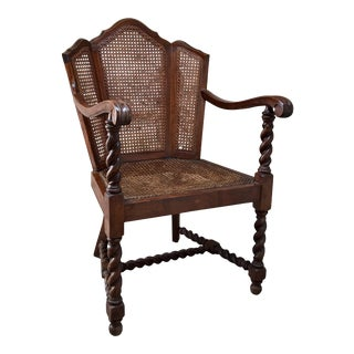 1900s Vintage Victorian Era Jacobean Style Barley Twist & Cane Chair For Sale