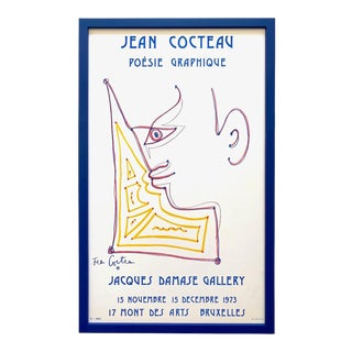 Jean Cocteau Vintage 1973 Mourlot Lithograph Print Framed Jacques Damase Gallery Modernist Exhibition Poster For Sale