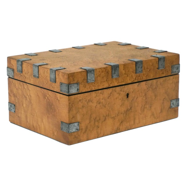 Metal Large, Antique Maple and Steel Antique Wood Box For Sale - Image 7 of 7