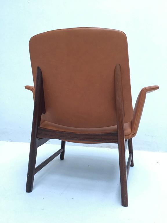 Very Rare Hans Olsen Rosewood And Leather Lounge Chair, Denmark, 1950s    Image 4