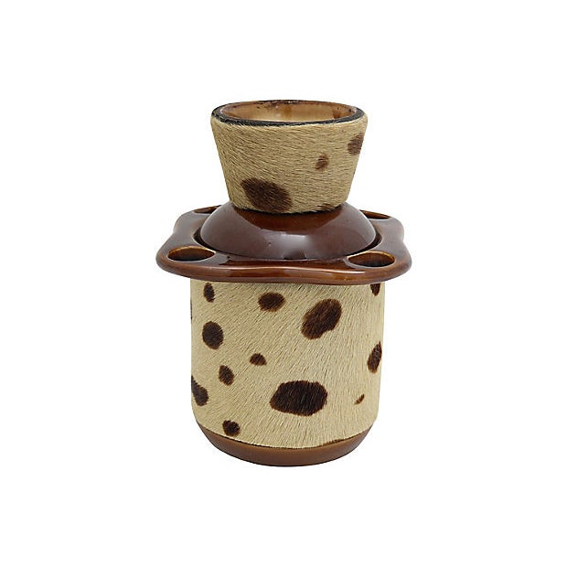 Mid 20th Century Midcentury French Cow Hide Tobacco Jar For Sale - Image 5 of 5