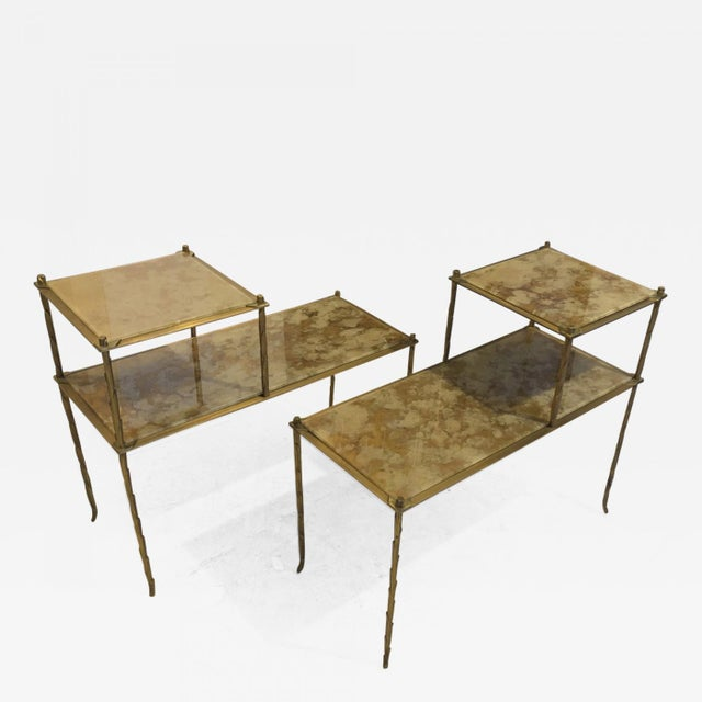Maison Bagues Superb Gold Bronze Two Tier Side Tables With Eglomise Mirror Top For Sale - Image 6 of 6