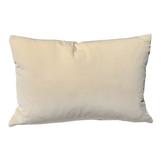 Contemporary Ivory Velvet Feather Down Accent Pillow , Custom Made For Sale