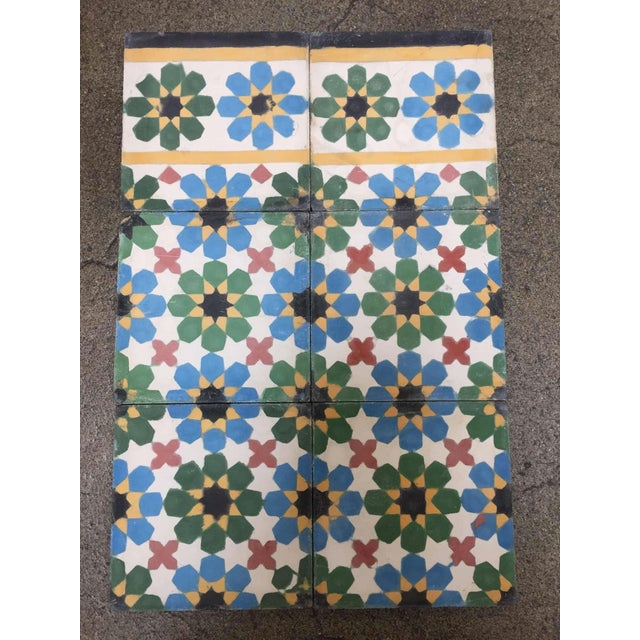 1990s Moroccan Hand-Crafted encaustic Cement Tile with Traditional Fez Moorish Design - Set of 56 For Sale - Image 9 of 13