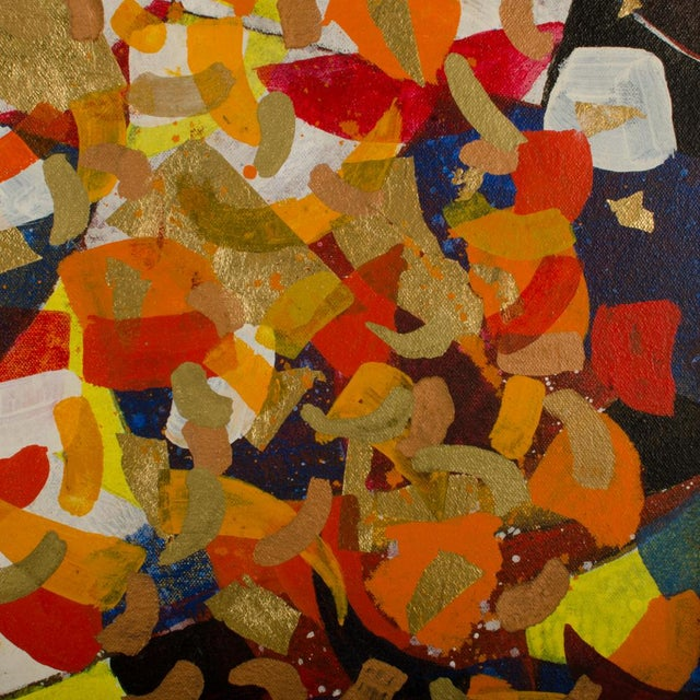 #9 Chinese Acrobats, confetti of colors - Acrylic, Oil, Metal leaf and paint on canvas, signed lower right back and dated...