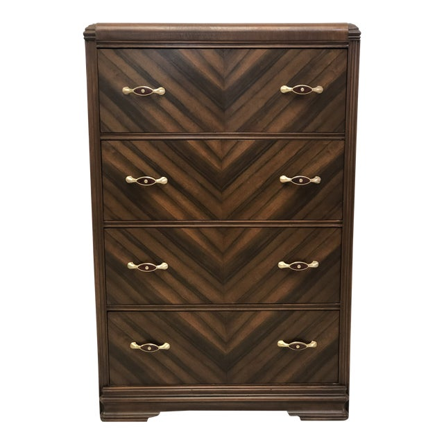 Art Deco Walnut Waterfall Edge Chest of Drawers For Sale