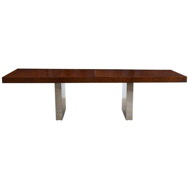 Milo Baughman Burl Wood Chrome Extension Dining Table For Sale - Image 13 of 13