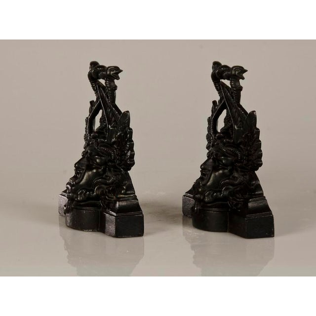 Industrial Pair of Extraordinary Cast Iron Door Stops with an Entire Portrait Bust of Medusa from Italy c.1870 For Sale - Image 3 of 7