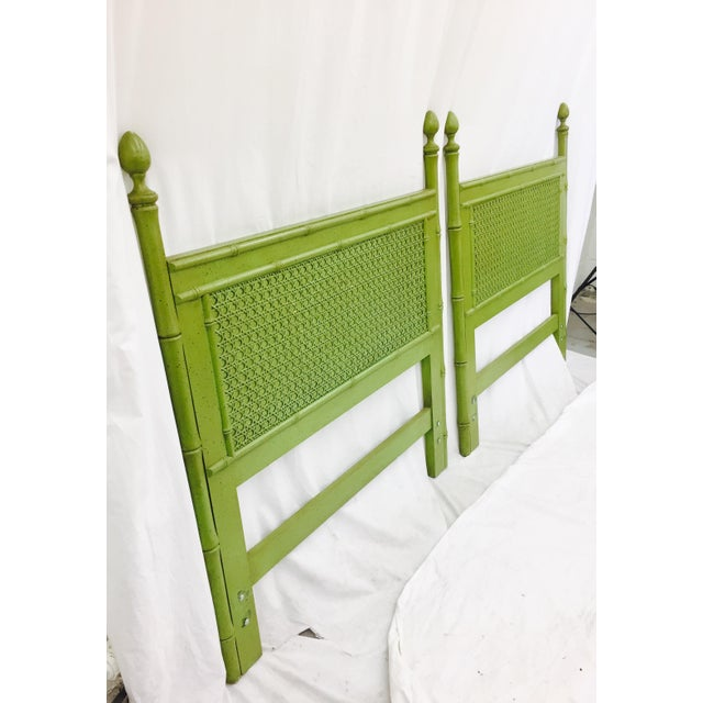 Vintage Green Faux Bamboo Twin Beds - a Pair - Image 6 of 9