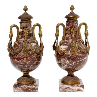French 19th Century Bronze Doré & Marble Cassolettes-A Pair For Sale