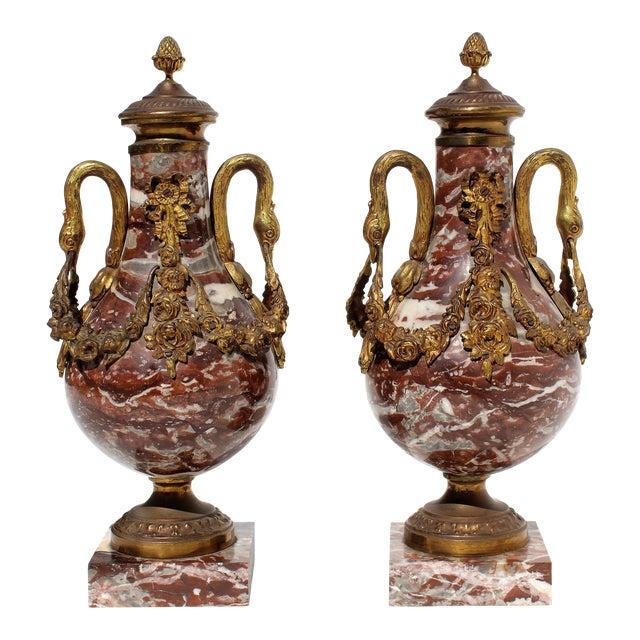 French 19th Century Bronze Doré & Marble Cassolettes-A Pair For Sale