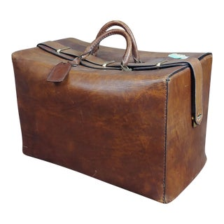 1930s Vintage Doctors Leather & Brass Bag For Sale