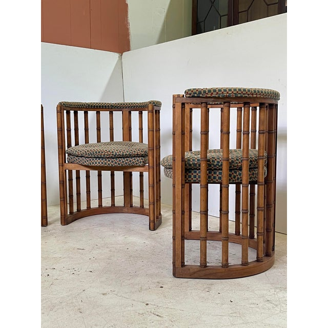 Mid-Century Modern Vintage Set of 4 Bamboo Barrel Back Game Chairs For Sale - Image 3 of 13