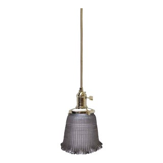 Cross Hatch Holophane Glass With Subtle Ruffle Pendant Light For Sale
