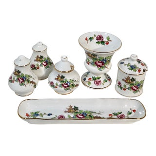 1970s Staffordshire Pagoda Gold Trim England Traditional Serving Dishes - Set of 8 For Sale