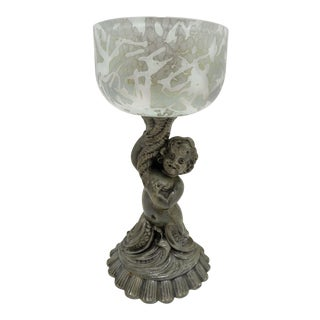 Vintage Cherub Mermaid Figural Cased Art Glass Compote Dish For Sale