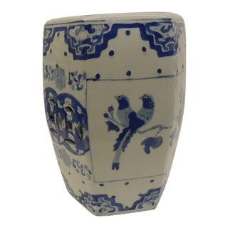 Vintage Blue and White Floral Mini-Garden Stool