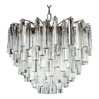 1970's Camer Murano Crystal Chandelier For Sale