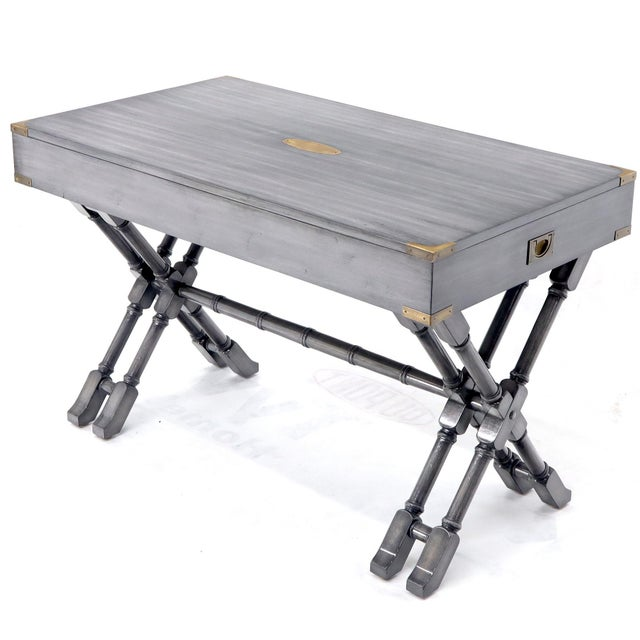 Horn Tone Neutral Finish X Base Campaign Desk with Brass Hardware For Sale - Image 4 of 13